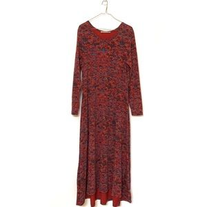 Peruvian Connection red long dress size L 🍓